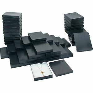 Pinstripe Cotton Filled Jewelry Gift Box Black 50pcs