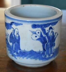 Antique Chinese Late 19th Early 20th Century Blue White Hand Painted Cachepot