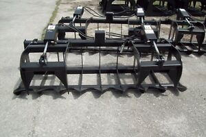 Skid Steer Brush Grapple 78 Width hoses quick Couplers winter Clearance