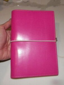 Filofax Domino Personal Organizer Hot Pink Leather 2007 2008 Never Used