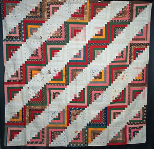 Antique Quilt Top 1870 S Straight Furrow Log Cabin Quilt Vibrant Hand Stitched