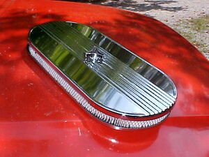 Custom Cobra Style Single 4bbl Ribbed Oval Air Cleaner Rat Rod Vintage Mustang