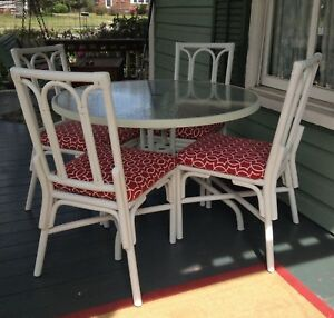Vintage Mid Century Patio Metal Dining Table And 4 Rattan Chairs
