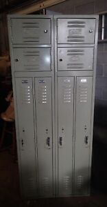 Vintage Berger Gym Locker Room School Industrial Double Sided 8 Lockers