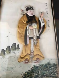 Antique Chinese 3d Painting Man W Sword Kesi Robe Calligraphy