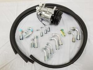 Universal 134a Air Conditioning Fitting Ac Hose Kit Chrome Compressor No Drier