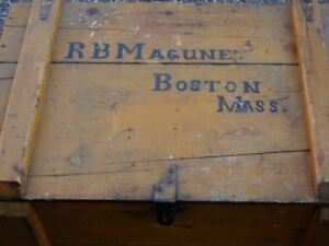 Antique Yellow Trunk Painted Box Advertising Boston Primitive Mangune