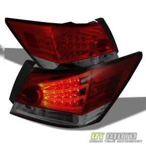 For 2008 2012 Honda Accord Sedan Red Smoke Lumileds Led Tail Lights W ccfl Strip