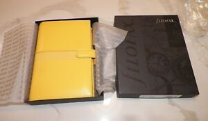 Filofax Per Piazza Filled Organizer From 2007 Yellow Italian Leather Never Used