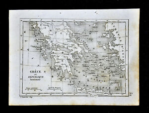1835 Levasseur Map Greece Ionian Republic Athens Crete Cyclades Naxos Paros