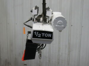 Coffing Ec1016 1 1 2 Ton Electric Chain Hoist 115v 16 Lift W power Trolley