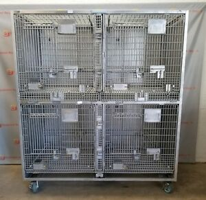 Allentown Caging Equipment Animal Vet Stainless Kennel 4 Cage Crate Dog Cat