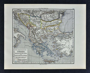 1880 Sydow Map Greece Turkey In Europe Balkans Athens Constantinople Bulgaria