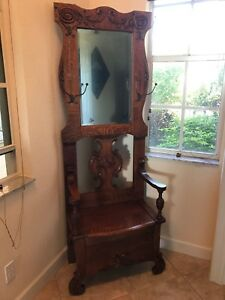 Victorian Antique Oak Hall Tree Late 1800 S Usa Made