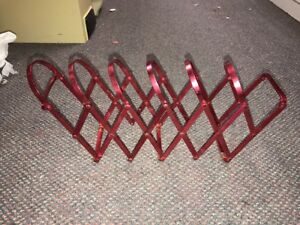 Red Aluminum Expanding Accordian File Collator Book Rack Mid Century
