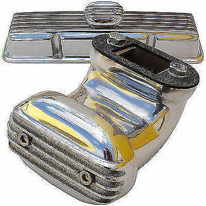 Moon Finned Angle Breather Valve Cover Hot Rod Rat Gasser Drag Racing Mooneyes