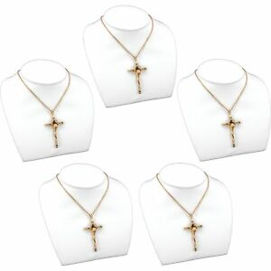 5 Pc White Faux Leather Necklace Bust Chain Display