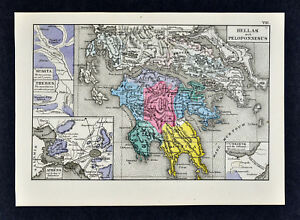 1880 Labberton Map Ancient Greece Athens Sparta Thebes Corinth Hellas Europe