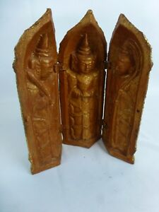 Excellent Old Thai Carved Wood Praying 3 Buddha Box Y8 W7 A8