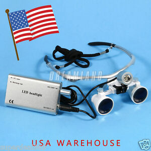 Dental Surgica Binocular Loupes Magnifier Glasses led Head Light Lamp Dr Usa