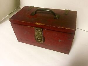Primitive Tool Box Old Red Paint Strap Hinges Hasp Handle 12 X 7 X 6