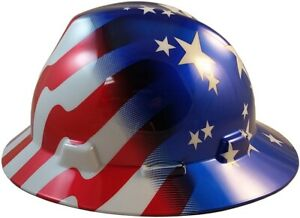 Msa Full Brim Patriotic Stars Stripes Hard Hat With One Touch Suspension