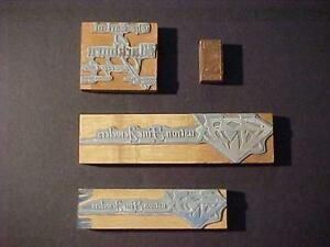 Antique Business Graphic Type Letterpress Wood Printers Block Old Vintage Lot