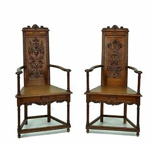 1111029 Pair Of Carved French Renaissance Arm Chairs