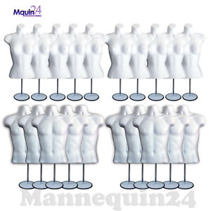 10 Female 10 Male 20 Stands 20 Hooks total 20 White Mannequin Torso Forms