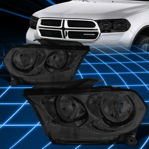 For 11 13 Dodge Durango Pair Smoked Housing Clear Side Headlight lamp Left right