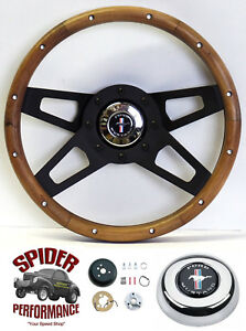 1970 1973 Mustang Steering Wheel Pony 13 1 2 Walnut Four Spoke Black
