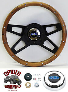 1970 1979 Ranchero Steering Wheel Blue Oval 13 1 2 Walnut 4 Spoke Black