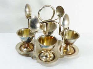 Made In England Silver Plate Egg Server Holder Cruet With 4 Cups