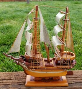 Vintage Wooden Antique Model Ship Sail Boat Maritime