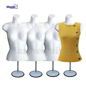 4 White Mannequin Female Torso W metal Stands 4 Hangers 4 Dress Forms