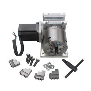 Cnc Engraving Machine Router Rotary A 4th Axis Gearbox 4 Jaw 80mm Chuck 20 1