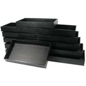 12 Jewelry Display Travel Tray Black Faux Leather