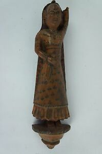 Antique Wooden Indian Hindu Carved Woman Figurine Ca 1900 8 Y8 W6 A8