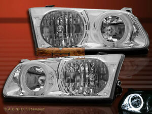 00 01 Toyota Camry Chrome Clear Angel Eye Halo Headlughts 4dr Sedan New