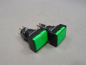 Lot Of 2 Al6h m24 g Illuminated Pushbutton Switch Momentary 3 A 24 V Green