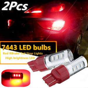 2pcs 12v 7443 Red Led Flashing Strobe Bulb Blinking Rear Brake Tail Stop Light