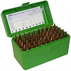 Mtm RL-50-10  Case-Gard R-50 Series 50Rd Large Rifle Ammunition Box Green