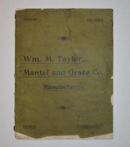 Ca 1900 Wm M Taylor Mantel Grate Co Catalog Illustrated Fireplace Columbus Oh