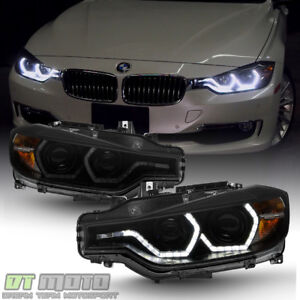Black Smoke 2012 2015 Bmw F30 328i 335i Sedan Led 3d Drl 2 Projector Headlights