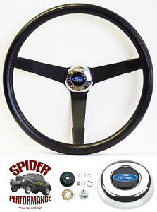 1970 1977 Ford Pickup Steering Wheel Blue Oval 14 3 4 Vintage Black