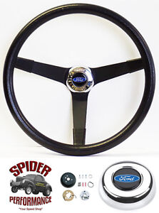 1970 1977 Ford Pickup Steering Wheel Blue Oval 14 3 4 Vintage Black Grant
