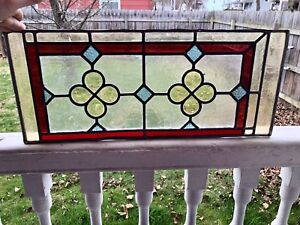Arts Crafts Stain Glass Leaded Panel Architectural Header Panel 22 X 9 1 4 T