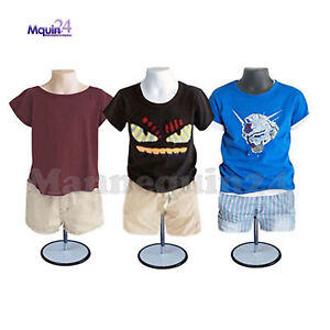 3 Child Torso Mannequin Form Set white Flesh Black Kids 3 Stands