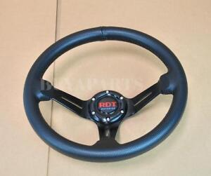 Rdt 330mm Racing 6 bolt Deep Dish Aluminum Black Pvc Leather Steering Wheel