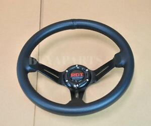 Rdt 350mm Racing 6 bolt Deep Dish Aluminum Black Pvc Leather Steering Wheel